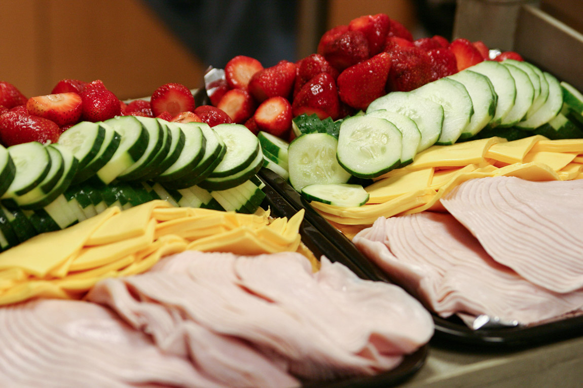 lunch spread - strawberries, cucumber, american cheese, turkey